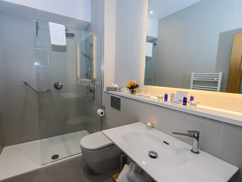 En-suite bathroom with walkin shower in the Merrion penthouse suite in PREMIER SUITES PLUS Dublin Ballsbridge
